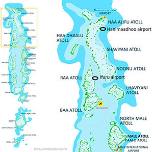 Route map for surftrips in the Northern Atolls