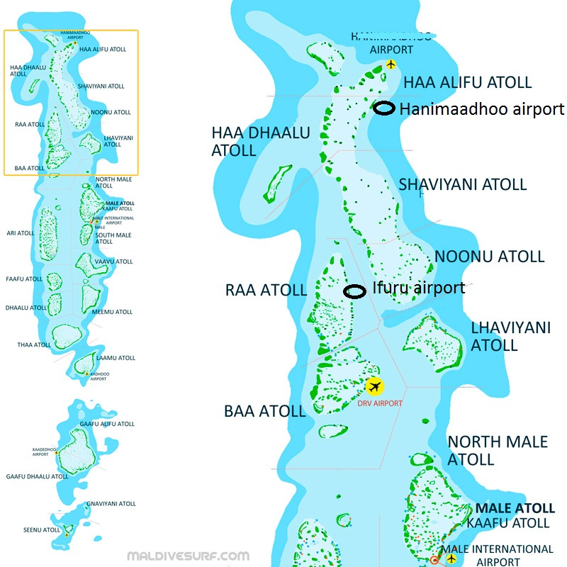 Route Map For Surftrips In The Northern Atolls Maldives