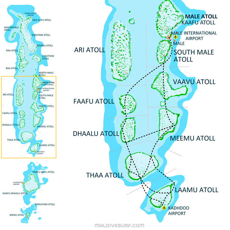 Route Map For Surftrips In The Central Atolls Maldives