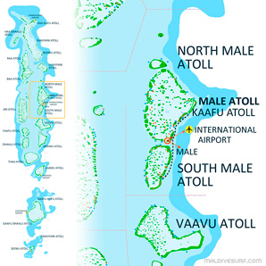 Route map for surftrips in N&S Malé Atolls