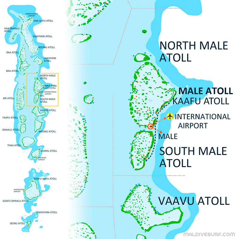 Route Map For Surftrips In NS Male Atolls