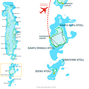 Route map for surftrips in the Southern Atoll