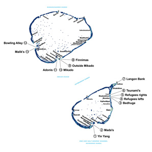 Surf spots map central atoll maldives